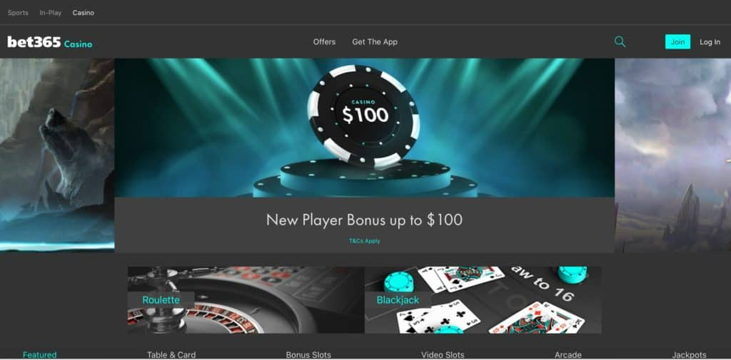 bet365 casino home page